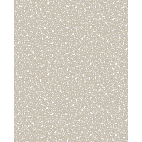 Stone tile wallpaper wall Profhome VD219125-DI hot embossed non-woven wallpaper embossed unicoloured and pearlescent effect platinum 5.33 m2 (57 ft2)