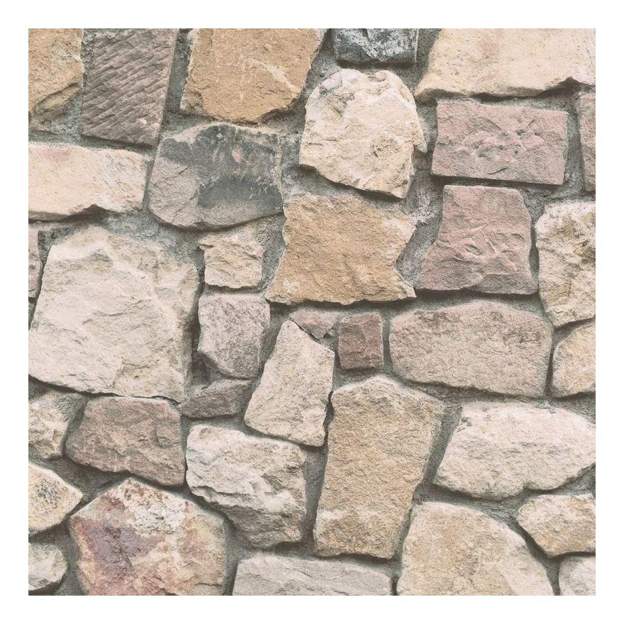 Image of Stone Wallpaper Brick Effect Slate Rustic Weathered Embossed Beige Grey