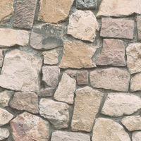 Stone Wallpaper Brick Effect Slate Rustic Weathered Embossed Beige Grey