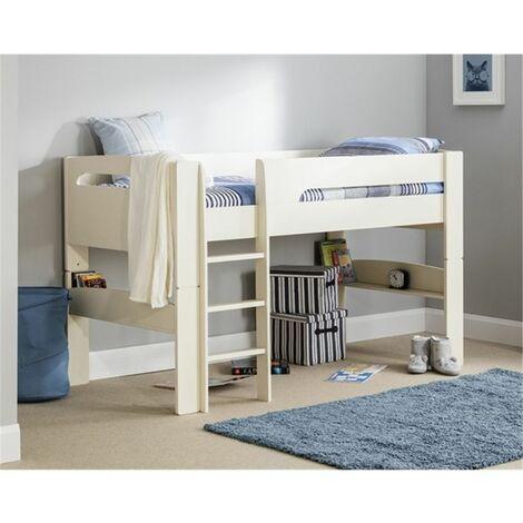 Stone White Mid Sleeper Childrens Bed Frame - Single 3ft (90cm)