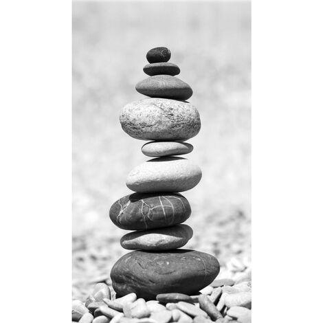 Stones, rideau imprimé pierres empilées façon zen 140x245 cm, 1 part