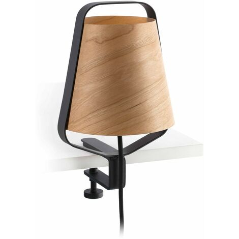 STOOD Lámpara de pinza - Negro y madera