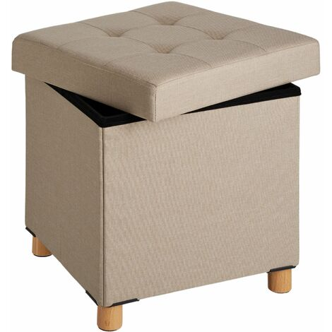 Stool Alea in upholstered linen look - foldable 300kg load capacity - bar stool, dressing table chair, dressing table stool - sand