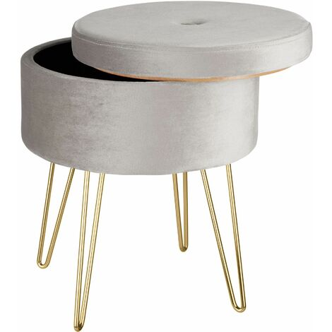 Stool Ava upholstered velvet look with storage space - 300kg capacity - bar stool, dressing table chair, dressing table stool - rose