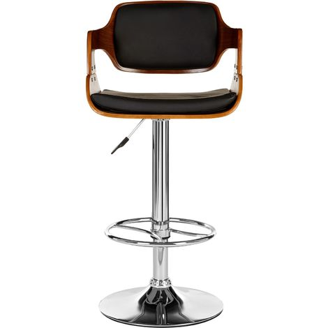 Stool, black leather effect, walnut wood