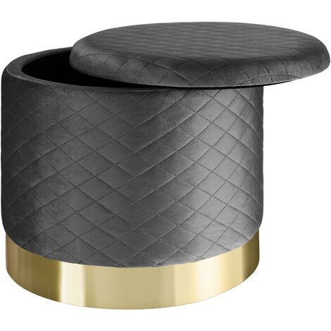 Stool Coco upholstered in velvet look with storage space - 300kg capacity - bar stool, dressing table chair, dressing table stool - dark grey
