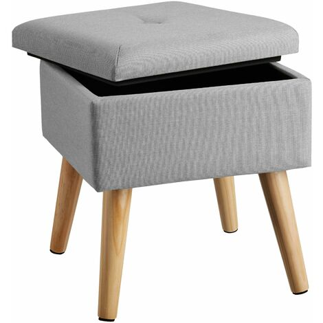 Stool Elva in upholstered linen look with storage space - 300kg capacity - bar stool, dressing table chair, dressing table stool - dark grey