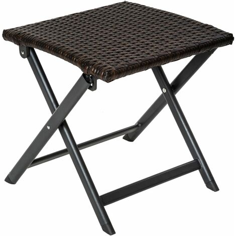 Stool made of aluminium and rattan, foldable - footstool, foot rest, rattan footstool - brown