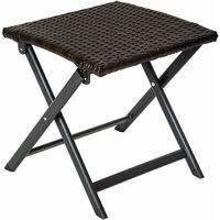 Stool made of aluminium and rattan, foldable - footstool, foot rest, rattan footstool - brown