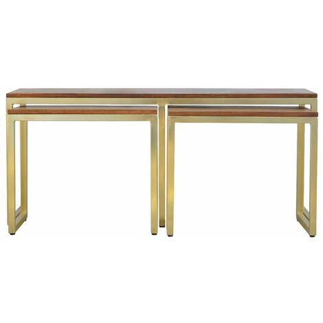 Stool Set Of 3 In Gold Finish