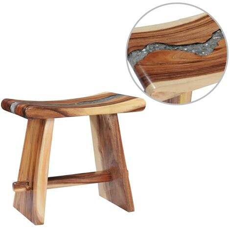 Stool Solid Suar Wood and Polyresin - Multicolour
