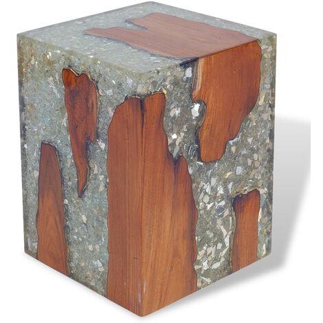 Stool Solid Teak Wood and Resin - Multicolour