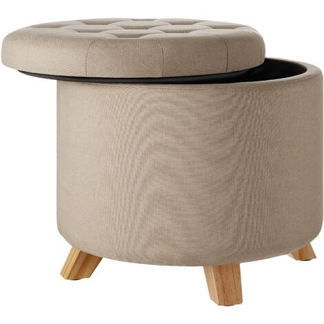 """main image of """"Stool Suna in linen look with storage space - 150kg capacity - bar stool, dressing table chair, dressing table stool"""""""