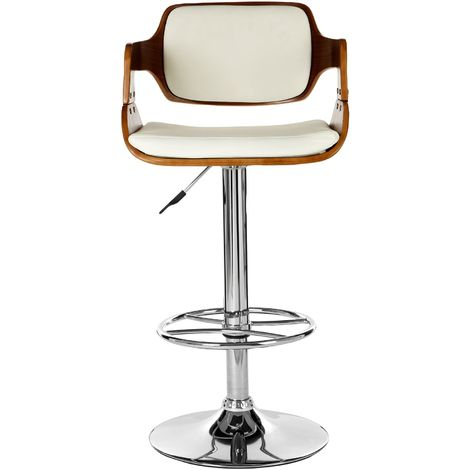 Stool, white leather effect, walnut wood
