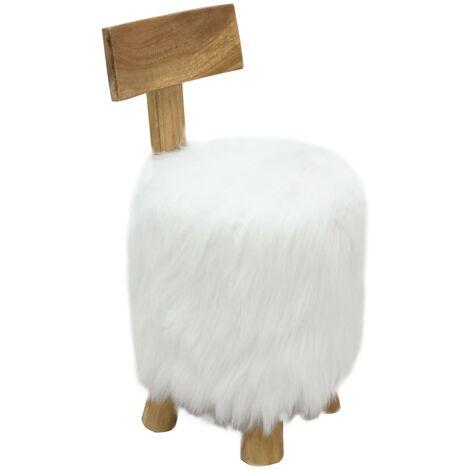 Stool White Solid Teak Wood