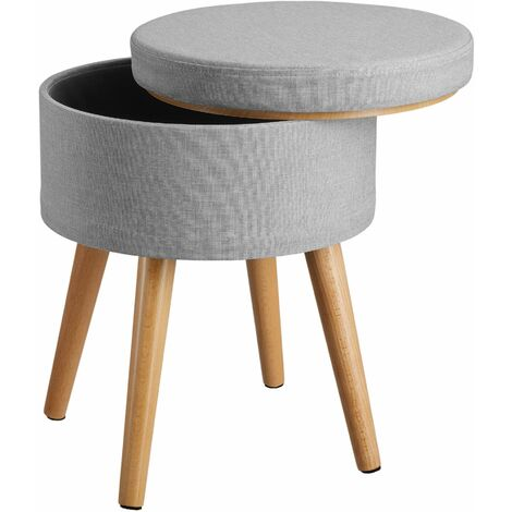 Stool Yara upholstered chair with storage space in linen look - bar stool, dressing table chair, dressing table stool - light grey