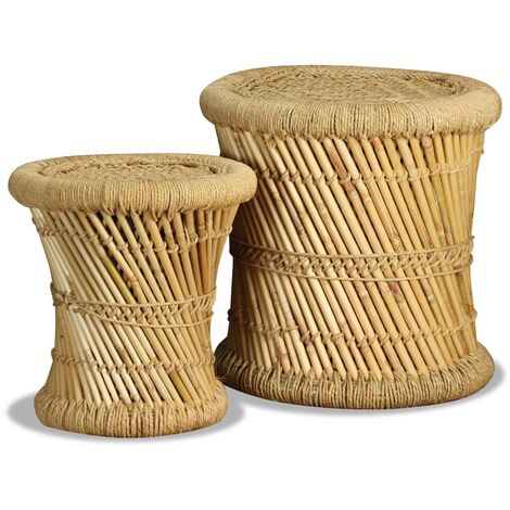 Stools 2 pcs Bamboo and Jute - Brown