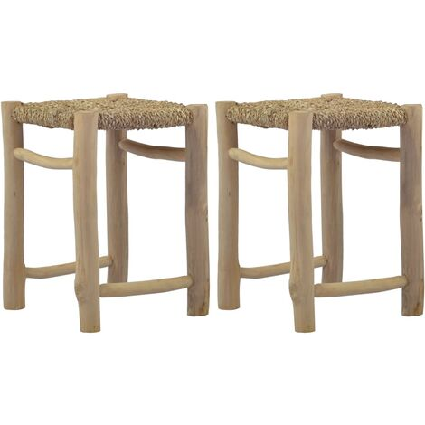 Stools 2 pcs Brown Seagrass