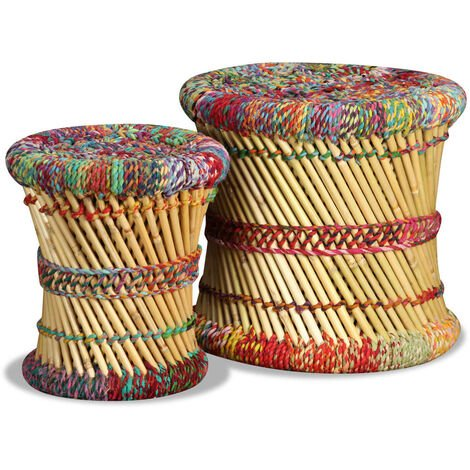 Stools with Chindi Details 2 pcs Multicolour Bamboo
