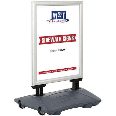 Stop trottoir extérieur WIND PRO couleur Alu format B2 (50 x 70 cm) - Panneau d'affichage extérieur - Cadre aluminium, base plastique - 75 cm (base) / 3,2 cm (cadre) - Cadre aluminium, base plastique