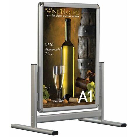 Stop trottoir vertical Cadro-Clic double faces - Affichage panneau publicitaire - Aluminium - B1 : 70 x 100 cm - Aluminium