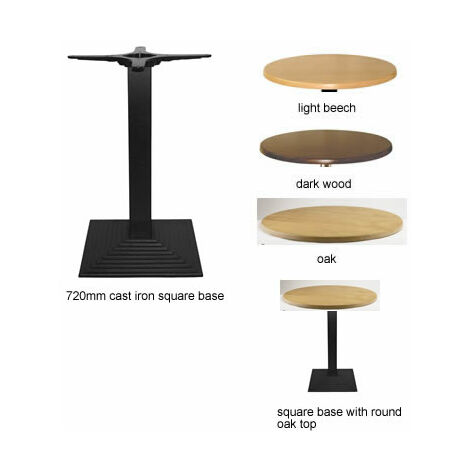Stopey Round Dining Table With Square Cast Iron Base - Dark Wood