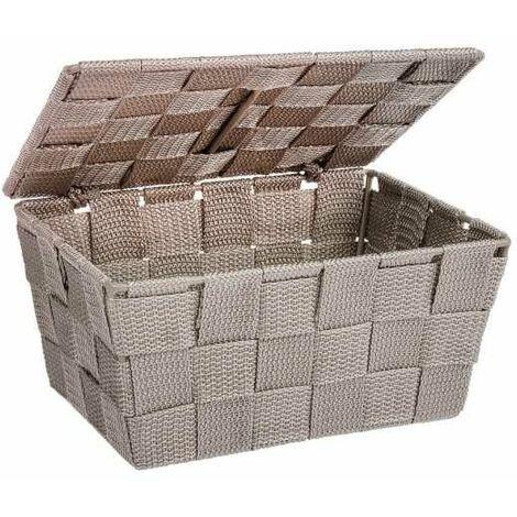 Storage basket Adria with lid Taupe WENKO
