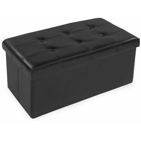 Storage bench made of synthetic leather - storage ottoman, shoe storage bench, hallway bench