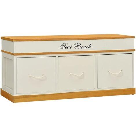 Storage Bench Solid Paulownia Wood 100 cm - White