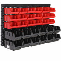 Storage Bin Set 32 Piece Wall Mounted Panels Bins Organiser Rack Set Stackable Bin Boxes DIY Tool Bits Screws