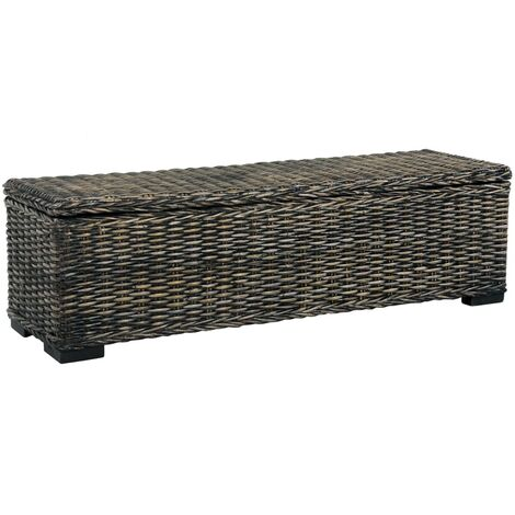Storage Box 120 cm Black Kubu Rattan and Solid Mango Wood