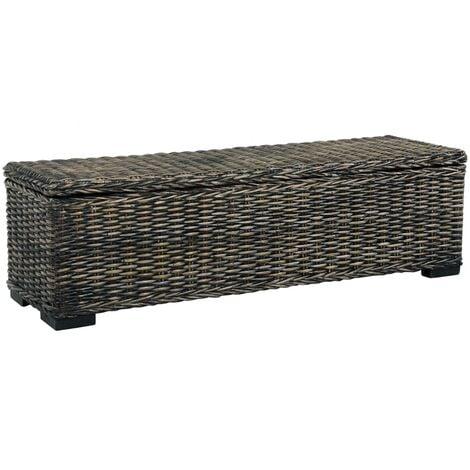 Storage Box 120 cm Black Kubu Rattan and Solid Mango Wood - Black