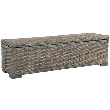 Storage Box 120 cm Grey Kubu Rattan and Solid Mango Wood