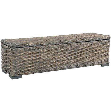 Storage Box 120 cm Grey Kubu Rattan and Solid Mango Wood - Grey