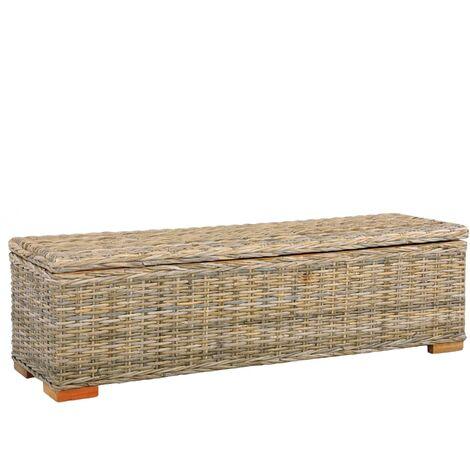 Storage Box 120 cm Kubu Rattan and Solid Mango Wood