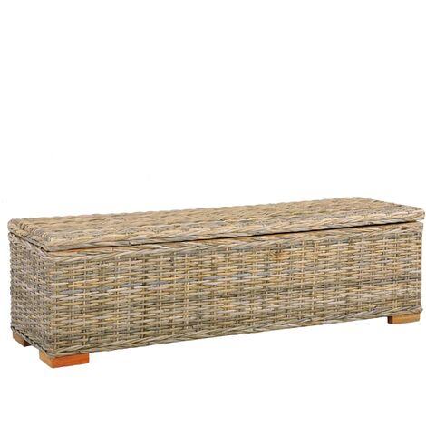 Storage Box 120 cm Kubu Rattan and Solid Mango Wood - Brown