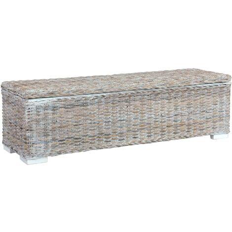 Storage Box 120 cm White Kubu Rattan and Solid Mango Wood