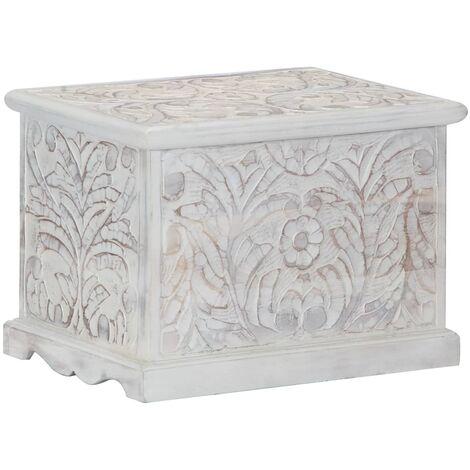 Storage Box 58x40x40 cm Solid Acacia Wood - White