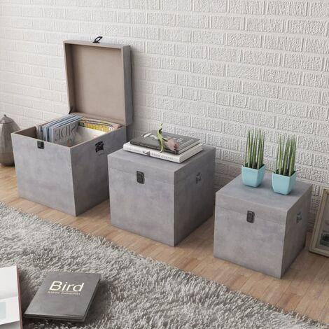 Storage Box Concrete 3 pcs Square Grey MDF