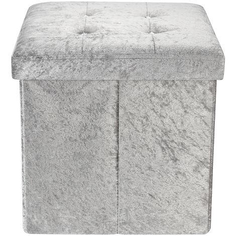 Storage Box Folding Seat Stool Blush 38x38x38cm Grey