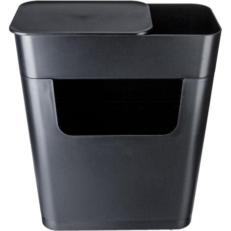 Storage Box Organizer With Wheels Garbage Bin Trash Can 49x35x22cm Black