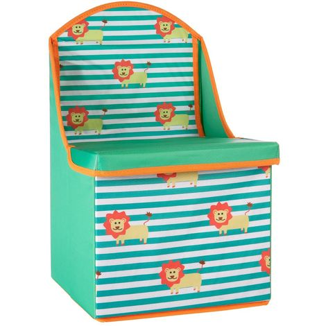 Storage box/seat,lion design,medium-density fibreboard/polyester
