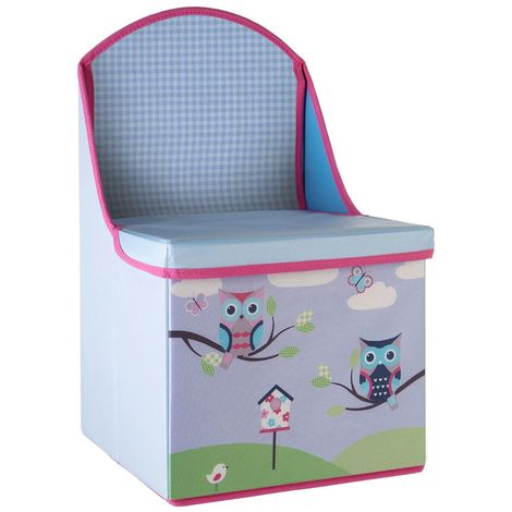 Storage box/seat,owl design,medium-density fibreboard/polyester