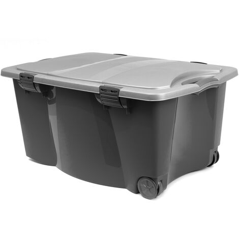 Storage Box Wheels Lid Latches Large Plastic Trunk Chest Container Clip 170L NEW Black