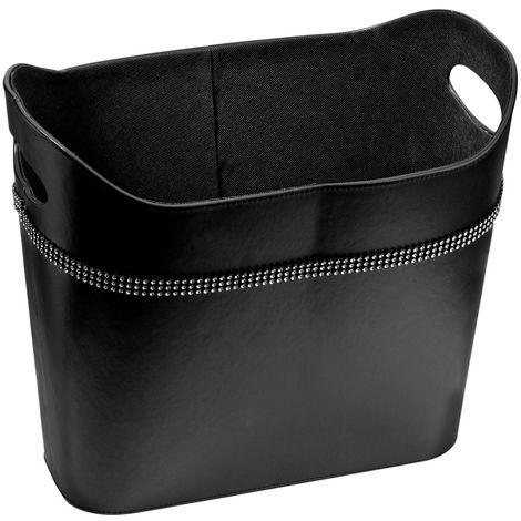 Storage box,black leather effect,diamante