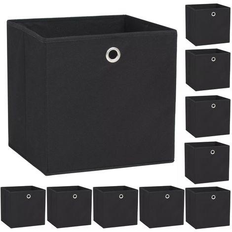 Storage Boxe10 pcNon-woven Fabric 32x32x32 cm Black