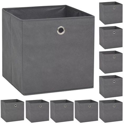 Storage Boxe10 pcNon-woven Fabric 32x32x32 cm Grey