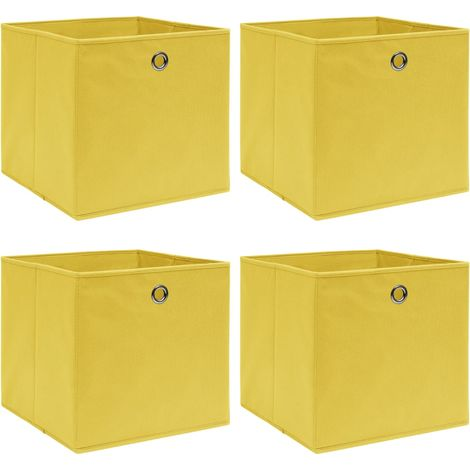 Storage Boxe4 pcYellow 32x32x32 cm Fabric