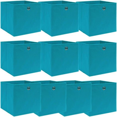 Storage Boxes 10 pcs Baby Blue 32x32x32 cm Fabric
