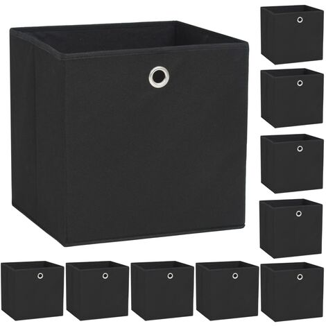 Storage Boxes 10 pcs Non-woven Fabric 32x32x32 cm Black